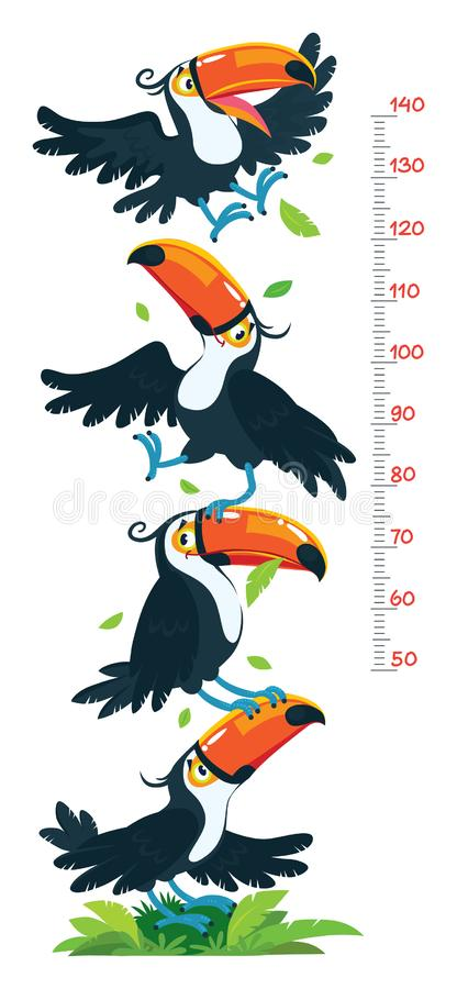Meter wall or height chart with funny toucans. Meter wall or height meter with funny toucans. Height chart or wall sticker. Childrens illustration with scale royalty free illustration