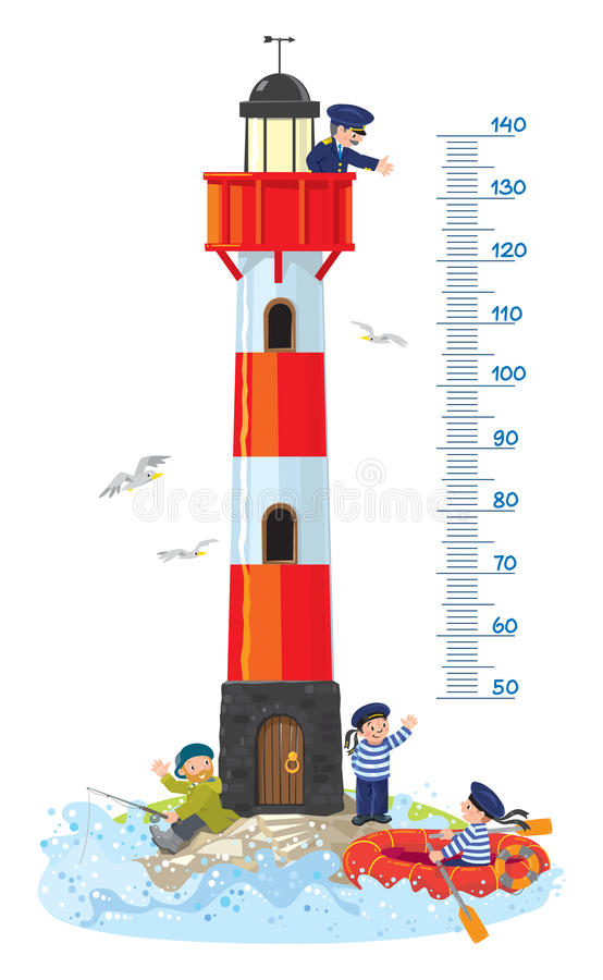 Meter wall or height chart with lighthouse. Meter wall or height chart. Lighthouse building, with keeper in uniform on top, fisher man and sailor on the ground royalty free illustration