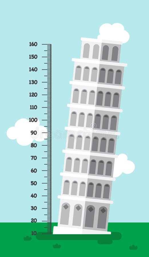 Meter wall with leaning tower of pisa.illustration royalty free illustration