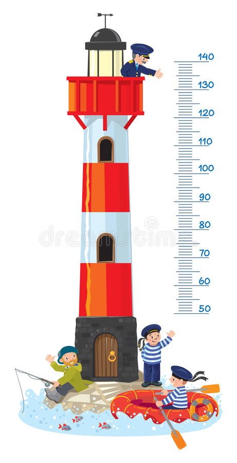 Free Meter Wall Or Height Chart With Lighthouse Royalty Free Stock Image - 84375706