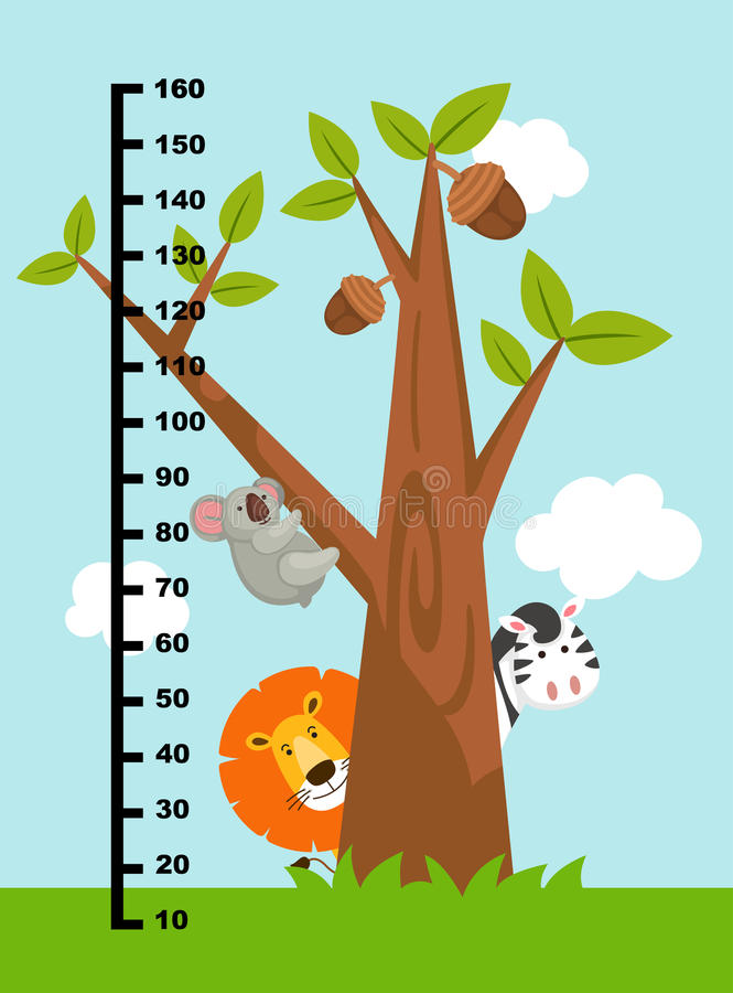 Meter wall with wild animals.illustration. Meter wall with wild animals.vector illustration royalty free illustration