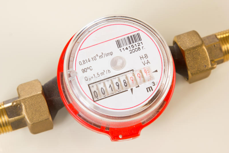 Meter of water in the disassembled kind stock photography