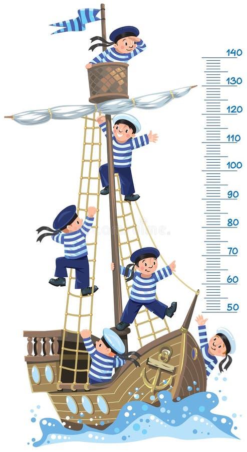 Metermuur met schip en gelukkige zeelieden vector illustratie
