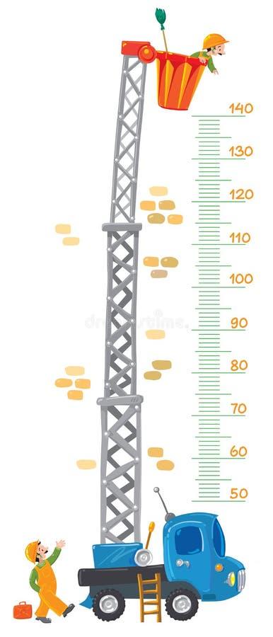 Metermuur met twee grappige arbeiders en machine-lift stock illustratie