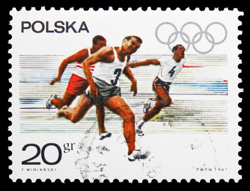100 meterras van mensen, Olympisch beroep serie, circa 1967 royalty-vrije stock afbeelding
