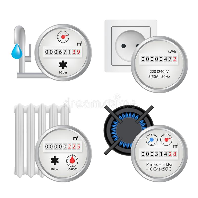 Metersymbolsuppsättning, realistisk illustration för vektor stock illustrationer