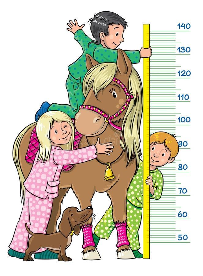 Metervägg med barn och en ponny stock illustrationer
