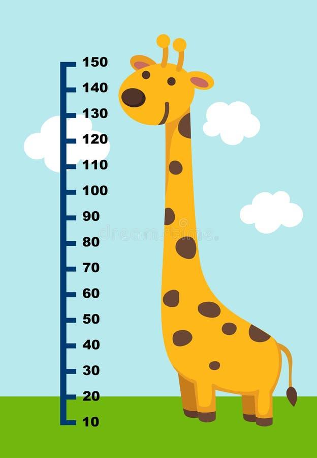 Metervägg med giraffet stock illustrationer