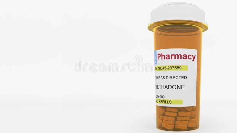 METHADONE generic drug pills in a prescription bottle. Conceptual 3D rendering. METHADONE generic drug pills in a prescription bottle. Conceptual 3D vector illustration