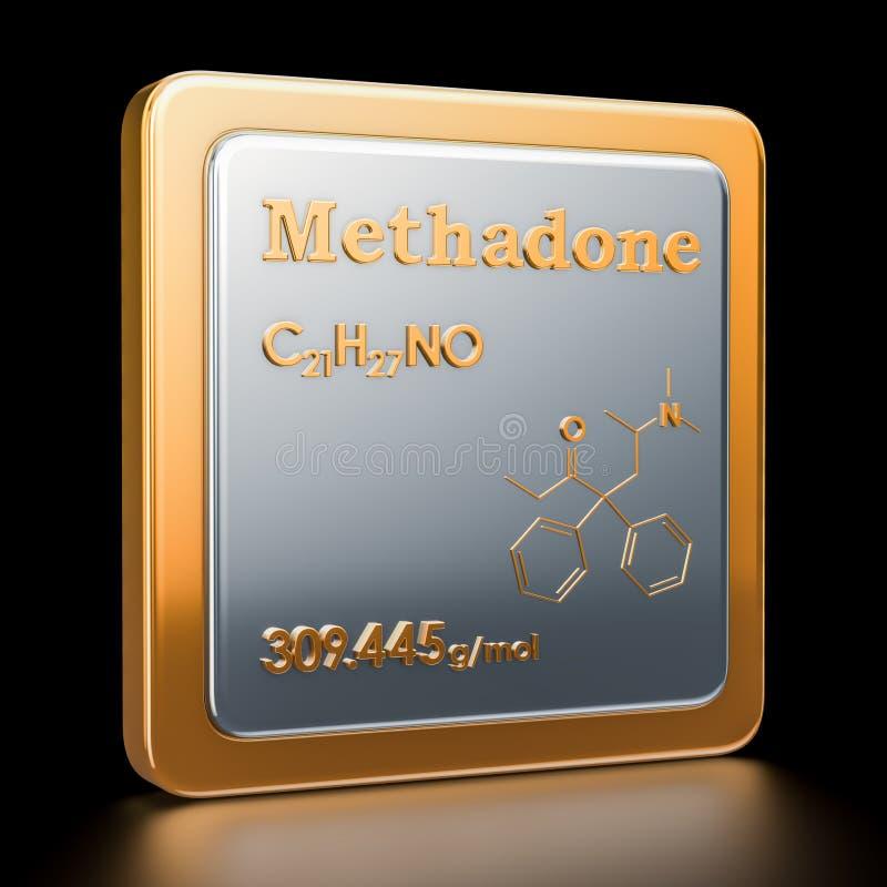 methadone Ikona, chemiczna formuła, cząsteczkowa struktura ilustracja wektor