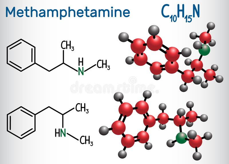 Methamphetamin Kristallmeth, C10H15N-Molekül, ist ein starkes Cer vektor abbildung