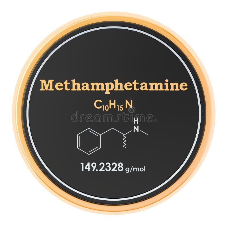 Methamphetamine, formule chimique, structure mol?culaire rendu 3D d'isolement sur le fond blanc illustration libre de droits