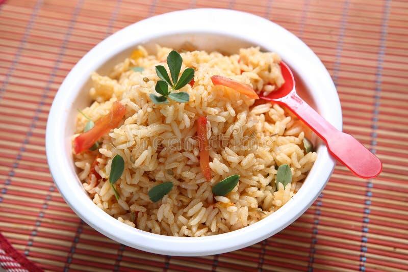 Methi Nariyal Dudh Pulao, pulao do amigo de Vendhayam Thengai, arroz do indiano do leite de coco do feno-grego fotografia de stock royalty free