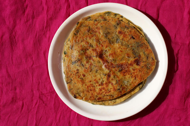 Methi Paratha. Made with fenugreek leaves and wheat flour stock image