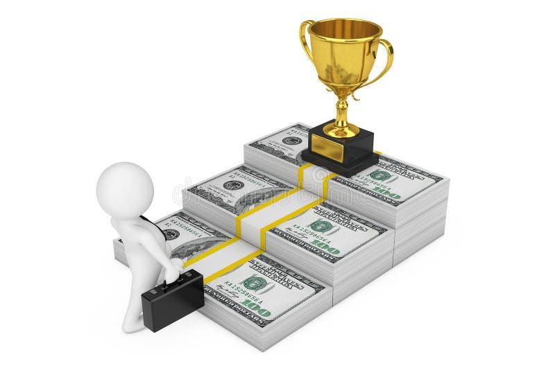 Methode zum Erfolgskonzept Geschäftsmann Climbs die Treppe vom Dollar-Geld zur Karriere-Goldpreis-Trophäe Wiedergabe 3d vektor abbildung
