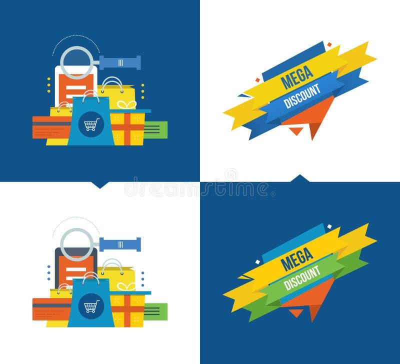 Methodes van betaling, online winkelend, mobiele marketing, kortingen, couponsysteem stock illustratie