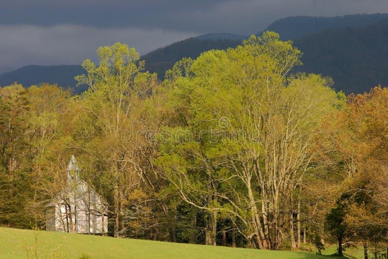 Methodistenkirche in den Bäumen stockfotografie