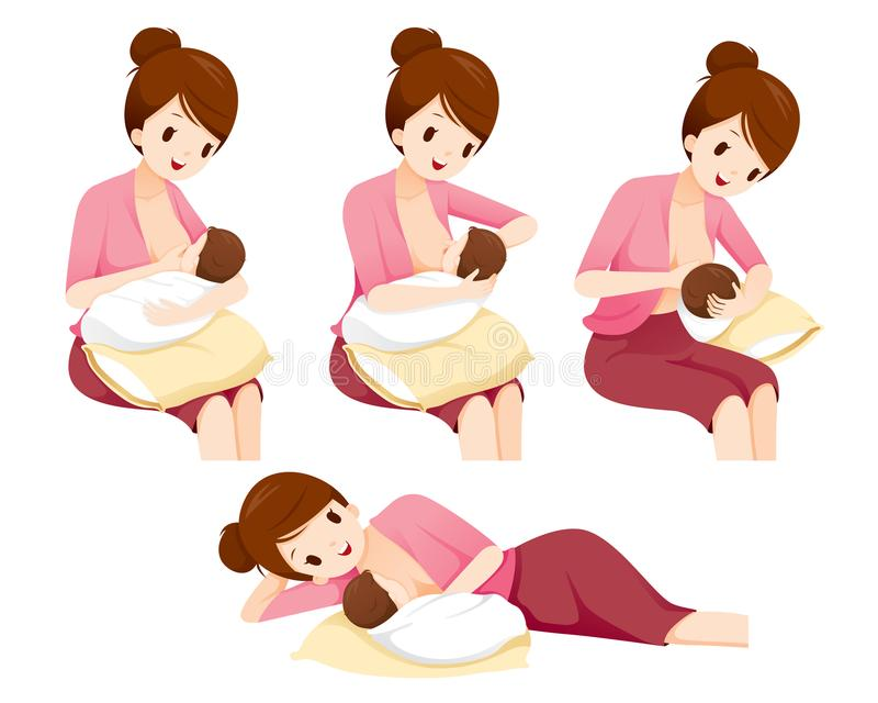 Methods And Position For Mother Breastfeeding Baby Safet royalty free illustration