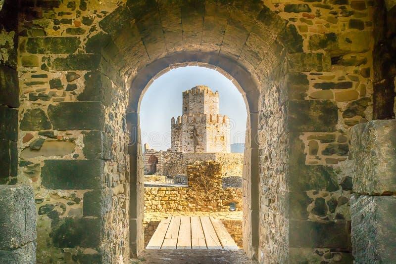 Methoni, Grecia 9 de agosto de 2017 Hermosa vista del castillo de Methoni imagen de archivo libre de regalías