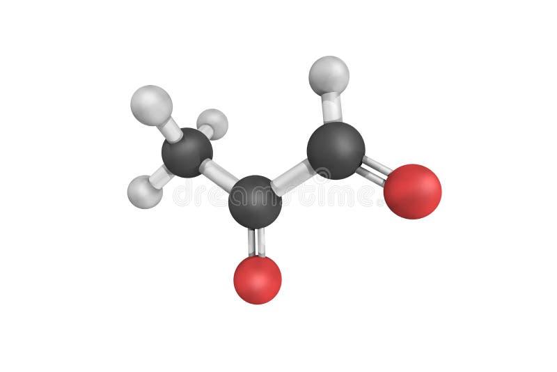 Methylglyoxal, ook genoemd pyruvaldehyde of oxopropanal 2 Het is royalty-vrije stock afbeelding