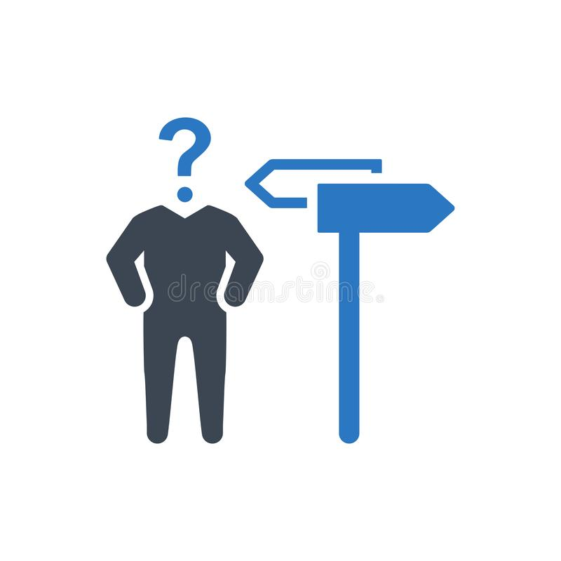 Businessman decision making confusion icon royalty free illustration