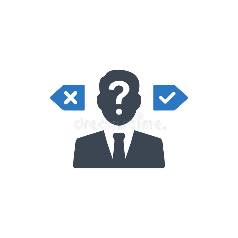 Confusion in decision making icon royalty free illustration