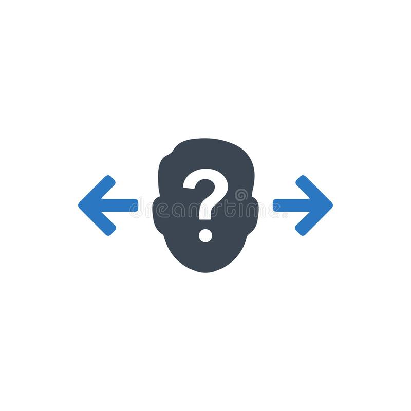 Confusion in decision making icon vector illustration