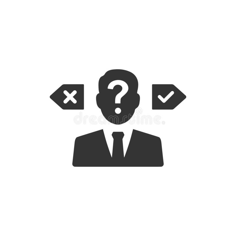 Confusion in decision making icon. Meticulously Designed Confusion in decision making icon royalty free illustration