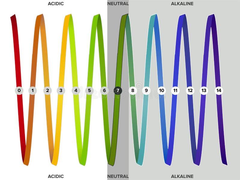 Meting van de pH schaal, spectrum, infographics royalty-vrije illustratie
