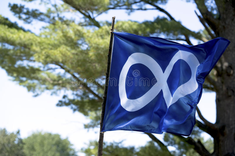 Metis Flag - National Aboriginal Day in Canada- June 21, 2017 royalty free stock images