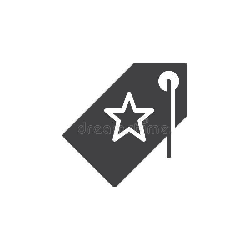 Metka z gwiazdowym ikona wektorem, wypełniający mieszkanie znak ilustracja wektor