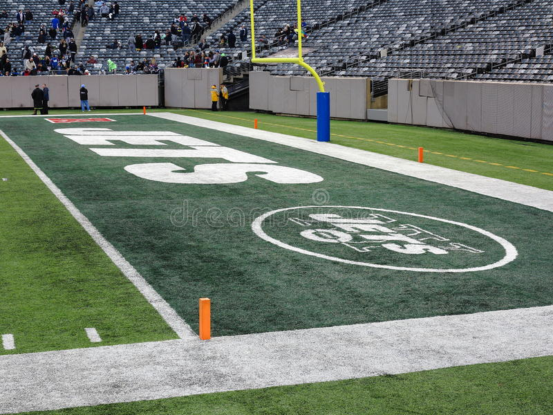 MetLife Stadium - New York Jets Giants. End zone marked for the football Jets at MetLife Stadium in New Jersey royalty free stock photos