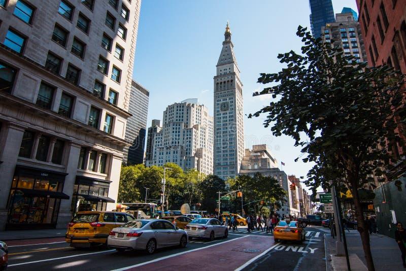 Metlife torn i Manhattan i Madison Square Park arkivbild