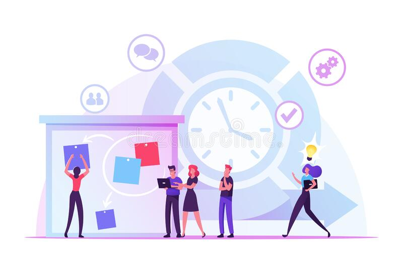 Metodkonceptet för gile Development Software Personer som sätter fingret på stora organisatörer, planering och analys stock illustrationer