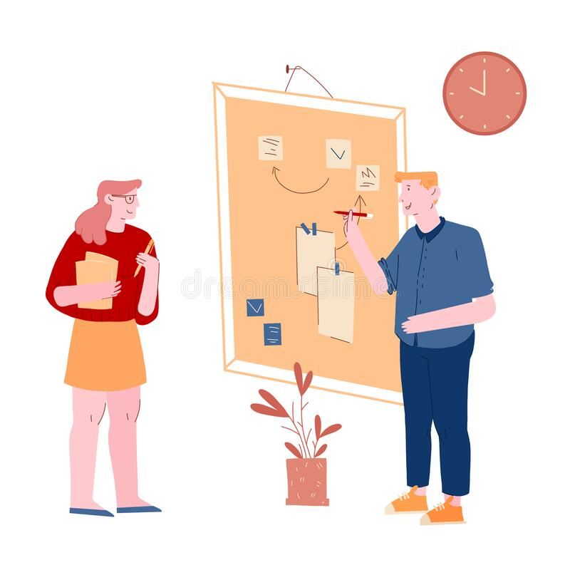 Metodkonceptet för gile Development Software Personer som sätter fingret på stora organisatörers, planerings- och analysarbete royaltyfri illustrationer