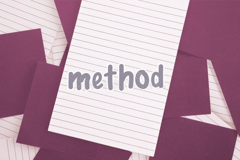 Metodo contro carta porpora sparsa sopra il blocco note illustrazione di stock