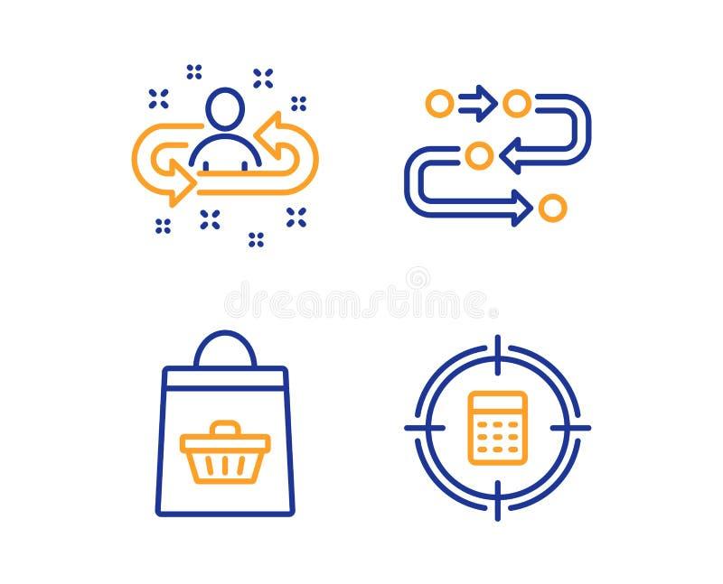 Metodologia, Online kupienie i rekrutacji ikony ustawia?, Kalkulatora celu znak wektor royalty ilustracja