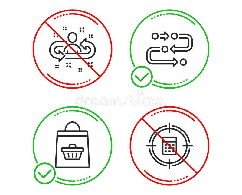 Metodologia, Online kupienie i rekrutacji ikony ustawia?, Kalkulatora celu znak wektor ilustracja wektor