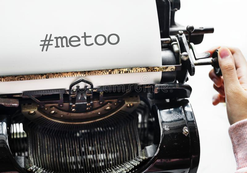 Metoo as a new movement worldwide. Typewriter and text stock photography