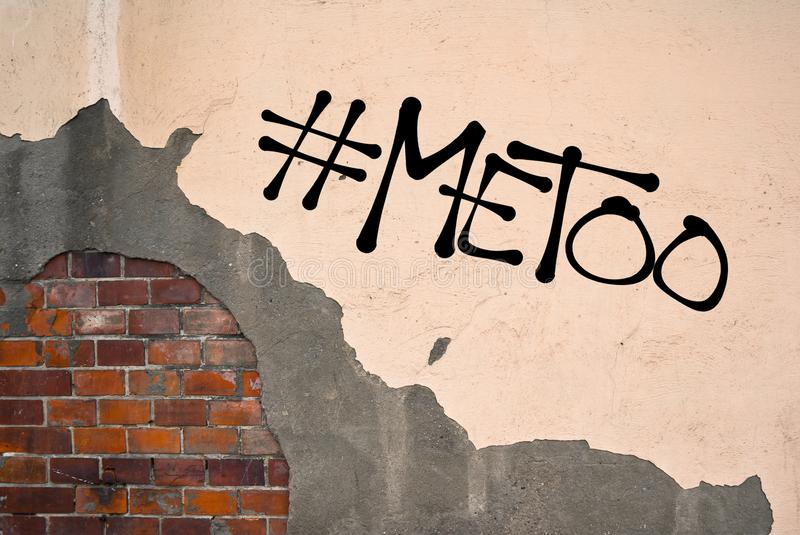 MeToo / Me Too graffiti. MeToo - handwritten graffiti sprayed on the wall - allegation on sexual abuse, harassment, assault, incident, unwanted and nonconsensual royalty free stock photography