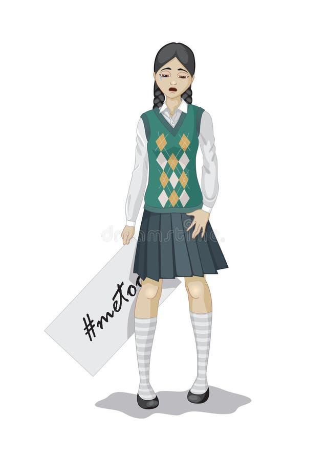 metoo: płakać szkolnej dziewczyny ilustracja wektor