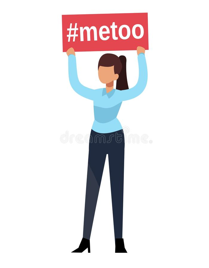 Metoo. Woman hands hold boss man sexual harassment sign workplace. Female humiliation fear in social groupe concept. Metoo. Woman hands hold boss man sexual stock illustration
