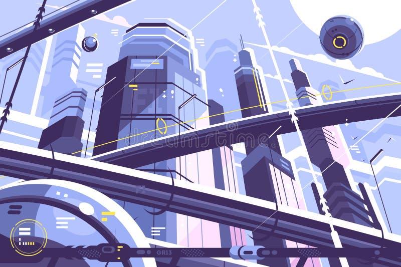 Metrópoli de la ciudad del futuro stock de ilustración