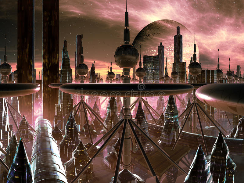 Metrópoli futurista en el mundo distante ilustración del vector