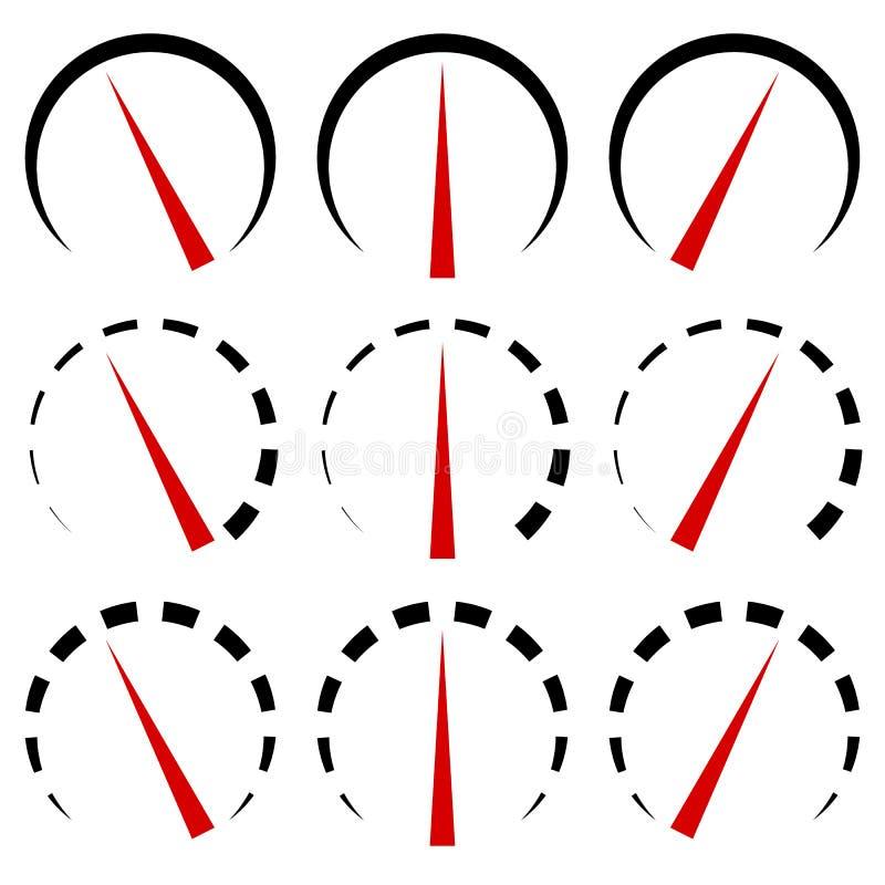 Metrów pokazy, wymierniki ustawiają przy 3 poziomem Linie w 3 różnym ver ilustracja wektor