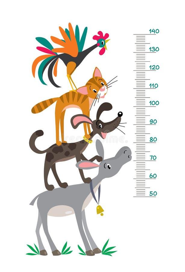 Metr ściana z śmiesznymi Bremen miasteczka muzykami royalty ilustracja