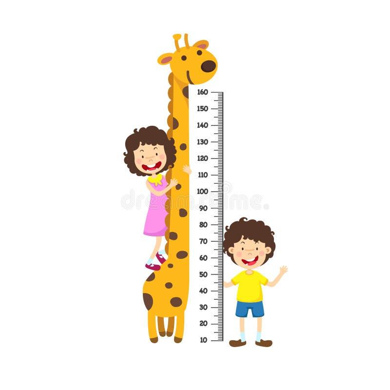 Metr ściana z chłopiec i dziewczyną royalty ilustracja