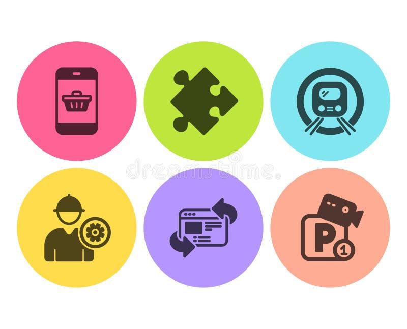 Metra metro, Odświeża strony internetowej i Smartphone kupienia ikony ustawiać Strategii, inżyniera i parking ochrony znaki, wekt ilustracji