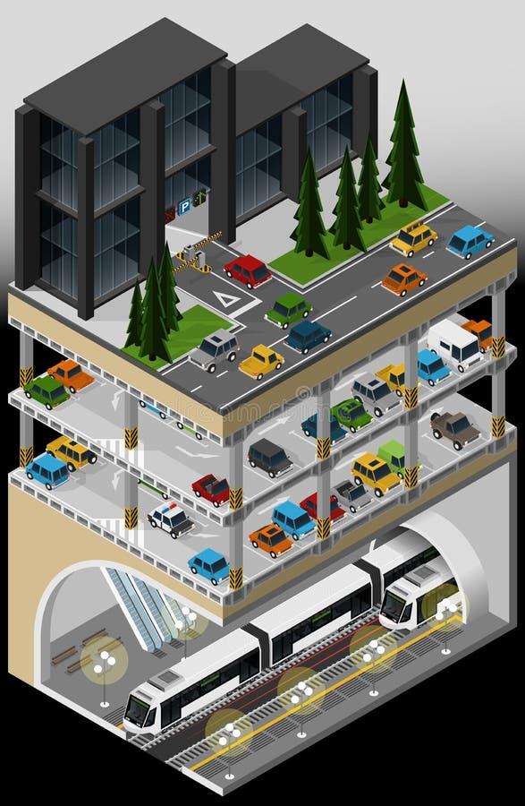 Metra przewieziony centrum i wielo- kondygnacja parking samochodowy ilustracji