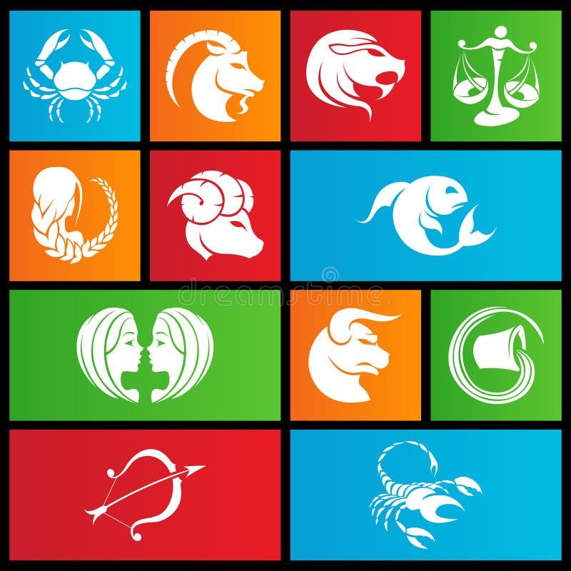 Metra stylowi zodiaka gwiazdy znaki ilustracja wektor